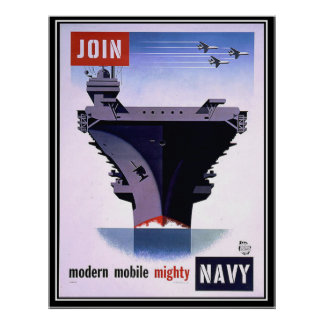 Vintage Retro Poster Join the Navy Print
