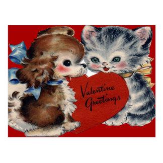 Vintage Retro Puppy & Kitten Valentine Card