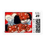 Vintage Retro Puppy Valentine Postage Stamp