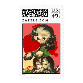 Vintage Retro Puppy With Heart Valentine Card Postage Stamp