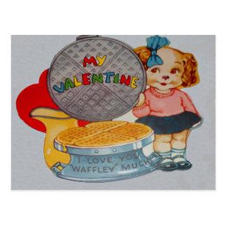 Vintage Retro Puppy With Waffle Iron Valentine Car Postcard