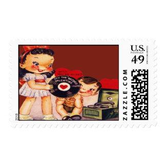 Vintage Retro Record Player Valentine Card Postage