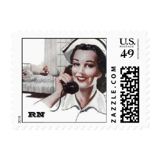Vintage Retro Registered Nurse Hospital RN Postage