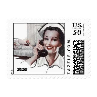 Vintage Retro Registered Nurse Hospital RN Postage
