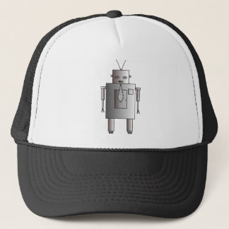 Vintage Retro Robot Corporate Man Dude Guy Trucker Hat