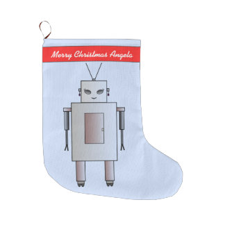 Vintage Retro Robot Cute Girl Hottie Whimsical Large Christmas Stocking
