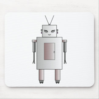 Vintage Retro Robot Cute Girl Hottie Whimsical Mouse Pad