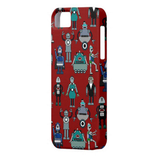 Vintage Retro Robots on Red - Funky Geek Fun! iPhone SE/5/5s Case