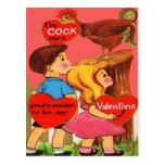 Vintage Retro Rooster Valentine Card Postcard