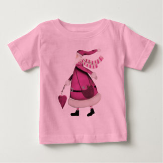 Vintage retro rosado caprichoso Papá Noel Playera De Bebé