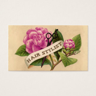 vintage retro rose orchid hairstylist hair stylist business card