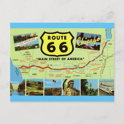 Vintage Retro Route 66 Map Postcard