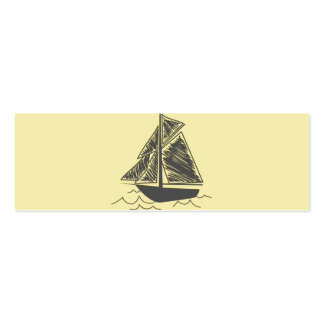 Vintage Retro Sail Boat  Pattern Double-Sided Mini Business Cards (Pack Of 20)