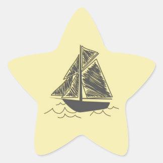 Vintage Retro Sail Boat  Pattern Star Sticker