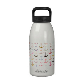 Vintage retro sailor girly floral nautical anchors water bottle
