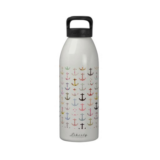 Vintage retro sailor girly floral nautical anchors drinking bottle