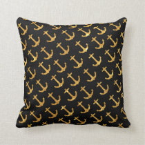 Vintage Retro Sailor Gold Glitter Nautical Anchors Throw Pillow