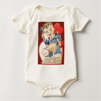 Vintage Retro Sailor Valentine Card Baby Bodysuit