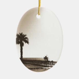 vintage retro san clemente pier california sepia ceramic ornament