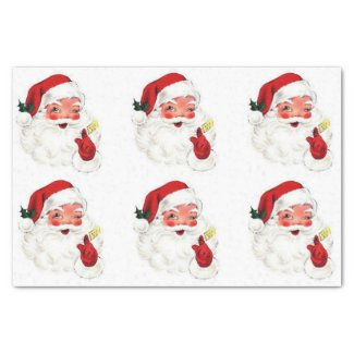 "Vintage Retro Santa Gift Christmas Tissue Paper 10"" X 15"" Tissue Paper"
