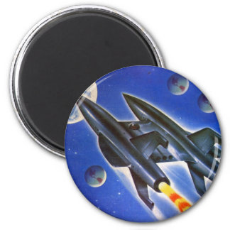 Vintage Retro Sci Fi Spaceship 'Three Earths' 2 Inch Round Magnet