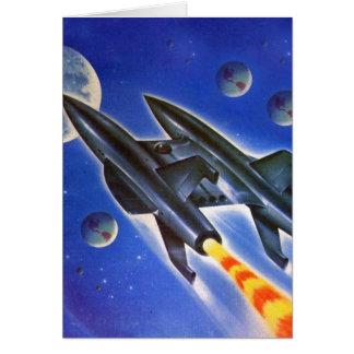 Vintage Retro Sci Fi Spaceship 'Three Earths' Card