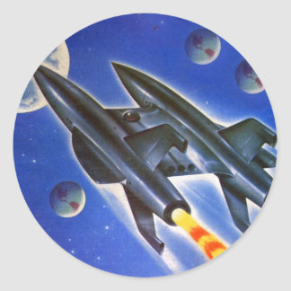 Vintage Retro Sci Fi Spaceship 'Three Earths' Classic Round Sticker