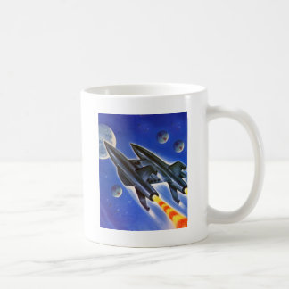 Vintage Retro Sci Fi Spaceship 'Three Earths' Coffee Mug