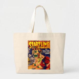 Vintage Retro SciFi Startling Stories Spaceship Tote Bag