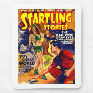 Vintage Retro SciFi Startling Stories Spaceship Mouse Pad