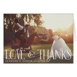 Vintage Retro Script Wedding Photo Thank You Card