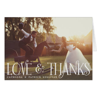 Vintage Retro Script Wedding Photo Thank You Card at Zazzle