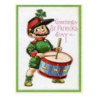 Vintage Retro Shamrock Soldier St Patrick's Day Postcards