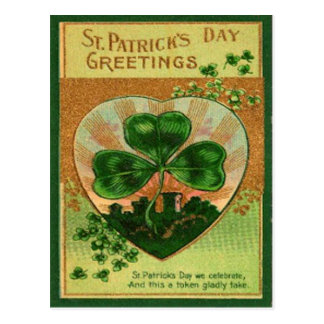 Vintage Retro Shamrock St Patrick's Greeting Card