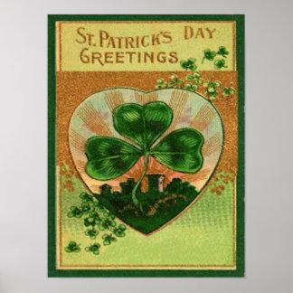 Vintage Retro Shamrock St Patrick's Greeting Card Poster