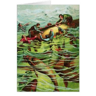 Vintage Retro Shark Attacks Saliors Greeting Cards