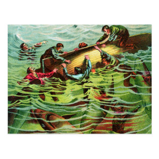 Vintage Retro Shark Attacks Saliors Postcard