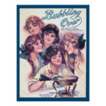 Vintage Retro Sheet Music Cover Bubbling Over Poster
