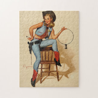 Vintage Retro Sheriff Pin Up Girl by Gil Elvgren. Jigsaw Puzzle