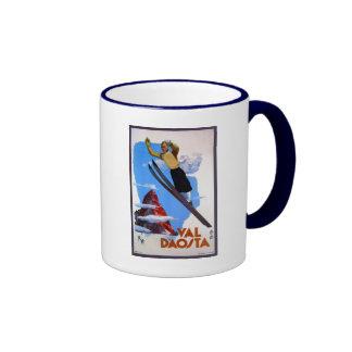 Vintage retro ski jumping Italian travel Ringer Coffee Mug