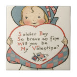 Vintage Retro Soldier Valentine Card Small Square Tile