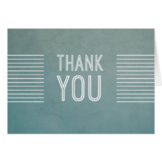 Vintage Retro Stripe Thank you in Blue Card