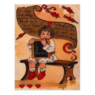 Vintage Retro Student Learning Love Valentine Card