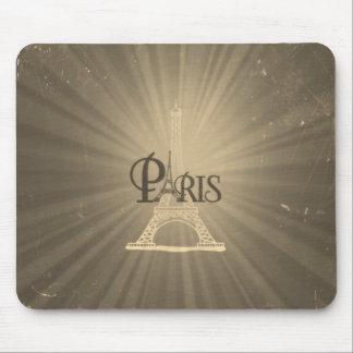 Vintage Retro Style Eiffel Tower Paris Grey Sepia Mouse Pad