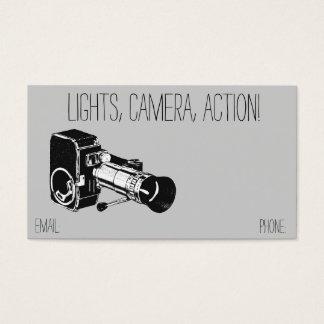 Vintage Retro Style Grey Movie Camera Film Business Card