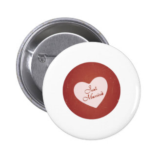 Vintage Retro Style Just Married On Antique Red Button