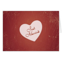 Vintage Retro Style Just Married On Antique Red Card