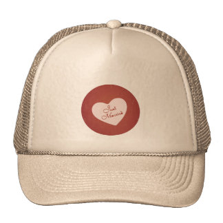 Vintage Retro Style Just Married On Antique Red Trucker Hat