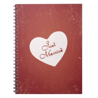 Vintage Retro Style Just Married On Antique Red Notebook