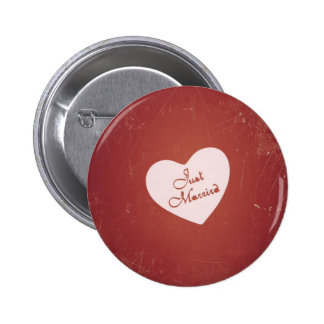 Vintage Retro Style Just Married On Antique Red Pinback Button